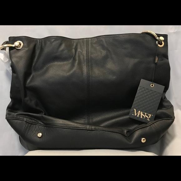 89ffed32c8186a Massi Bags | Nwt Black Leather Hobo Bag Wbraided Straps | Poshmark